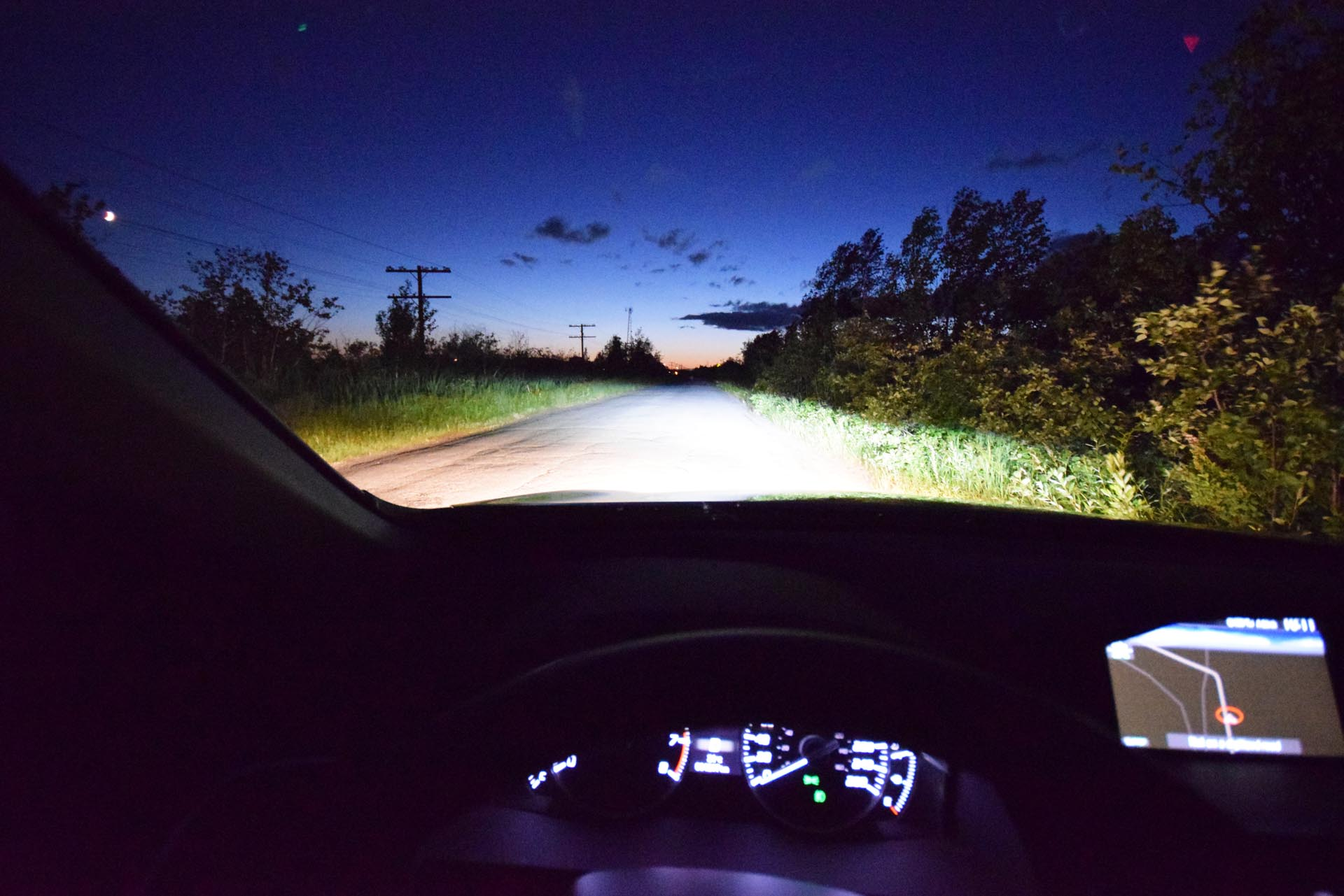 Here's a visualization of the lighting output from Acura's LED lighting system, in the new RDX. Note the thick saturation, brilliant cut-off line, minimal dark spots, and peripheral lighting which extends well off of the roadway.