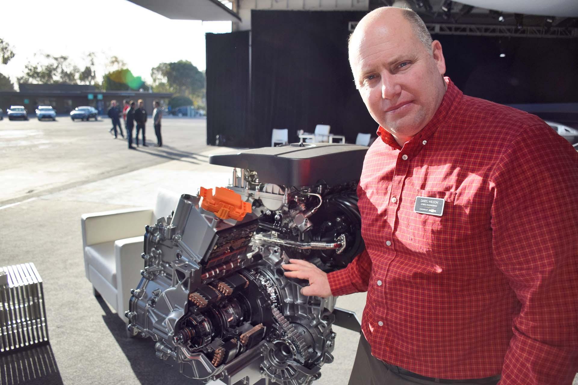 Malibu Hybrid Lead Development Engineer Daryl Wilson with hybrid system