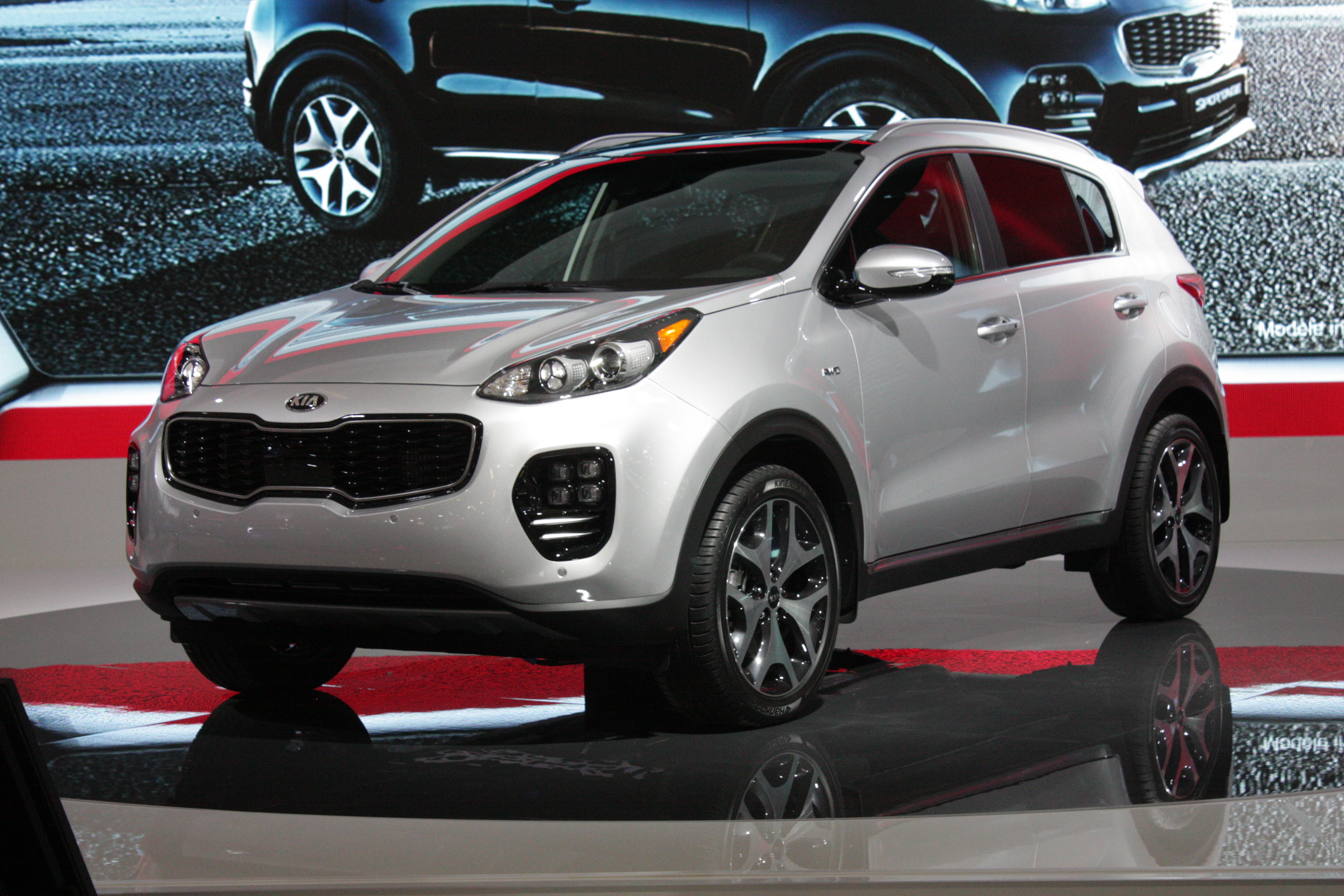 Kia showed its 2017 Sportage, a redesigned compact crossover that looks more German than Korean. Also making a debut (but not pictured) is a refreshed 2016 Optima family sedan.