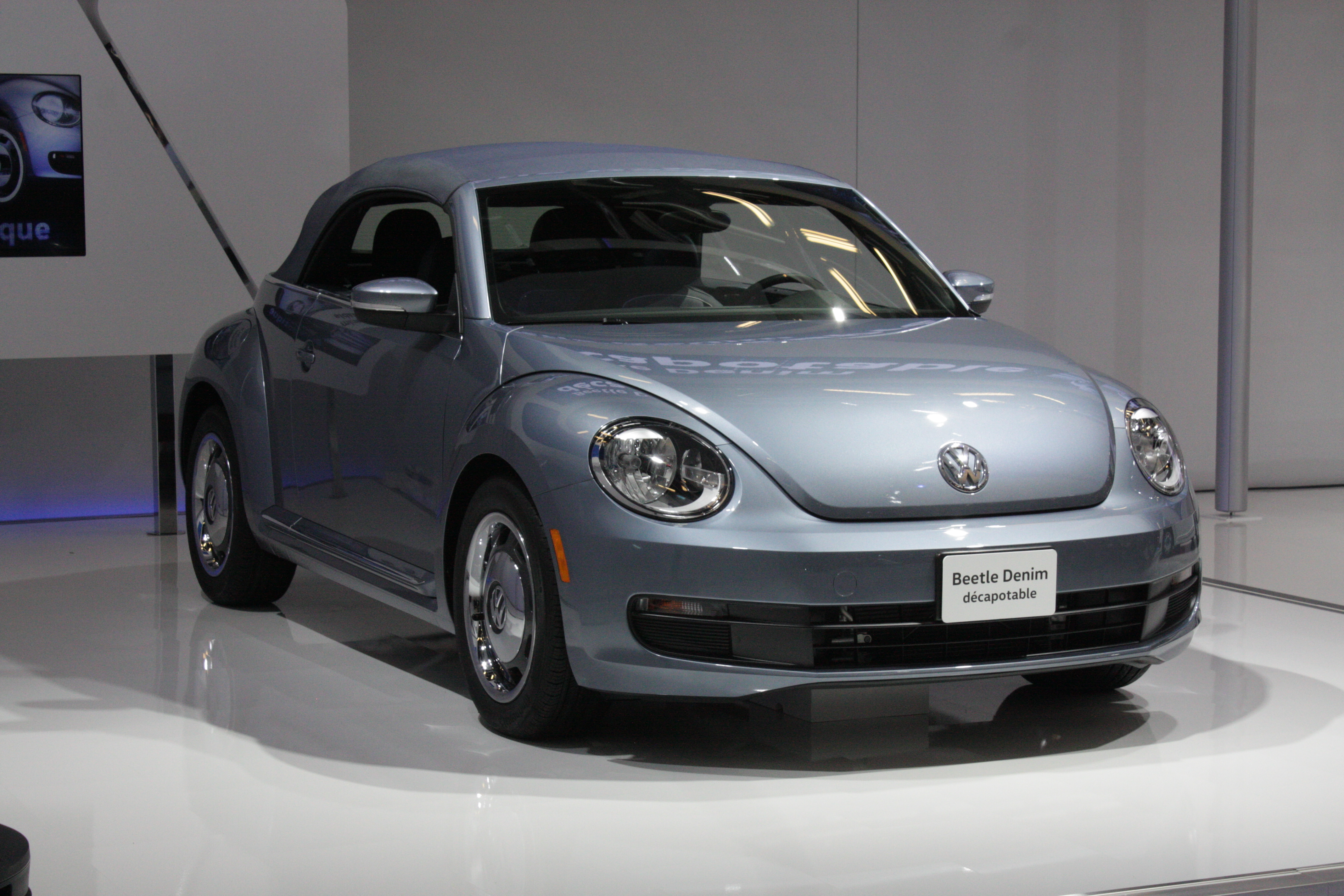 Finally, Volkswagen's two Canuck premieres are a Beetle convertible done up in a new Denim trim...