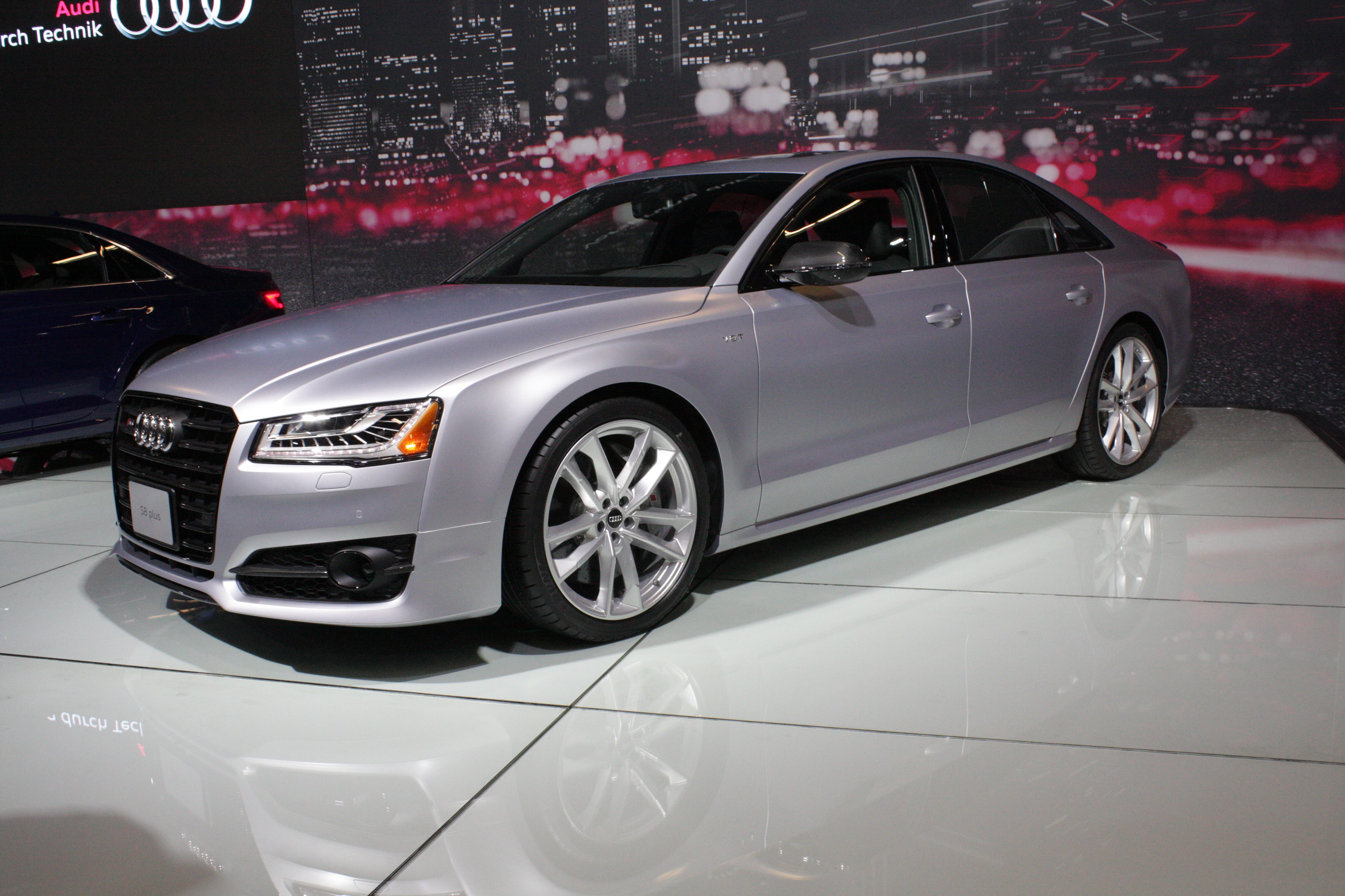 The Audi S8 Plus is an updated version of its flagship performance sedan that boasts 605 horsepower from its twin-turbocharged V8 engine.