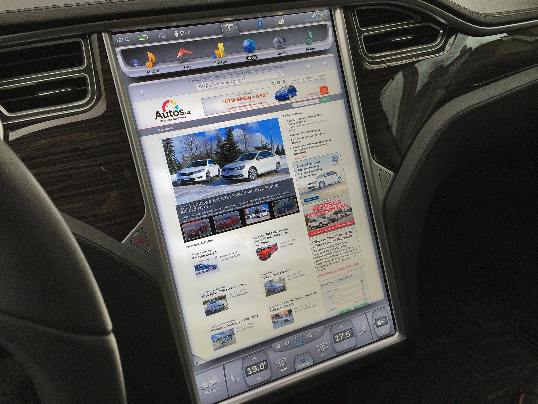 "No futuristic cars list would be complete without the Tesla Model S, the car The Oatmeal calls his ""Intergalactic SpaceBoat of Light and Wonder"". Knobs and buttons are a thing of the past, and almost all interior functions are controlled via a giant 17-inch customizable touchscreen. Yeah, pretty rad."