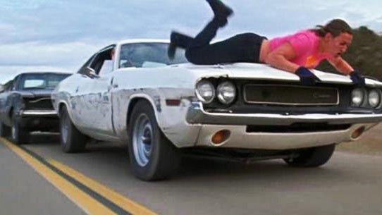 You want to hate Kurt Russell's Stuntman Mike – he does some pretty abhorrent things – but when you see him chasing a car full of joyriders, one of whom has <em>voluntarily strapped herself to the hood of a speeding muscle car</em>, well, you realize he's just doing Darwin's work. By the end of it, you actually kinda feel sorry for the guy.