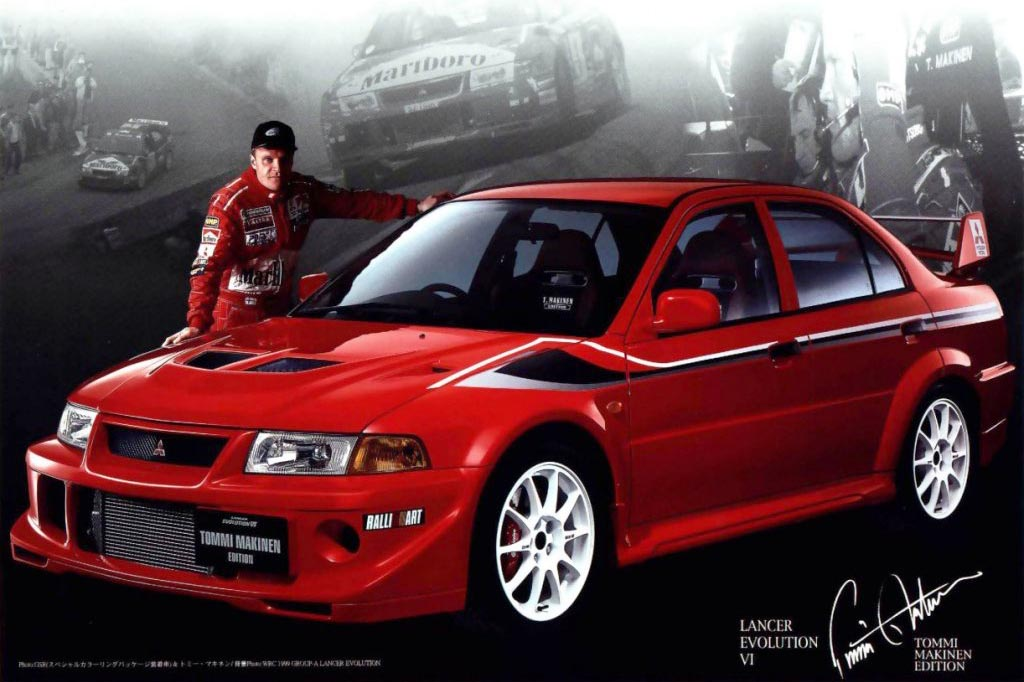 Thus, the special edition car that wears his name. You'd have to import this one as the Evo VI was never sold in Canada, but painted in the Ralliart team colours and fitted with 17-inch white Enkei wheels, it's pure rally car for the streets.