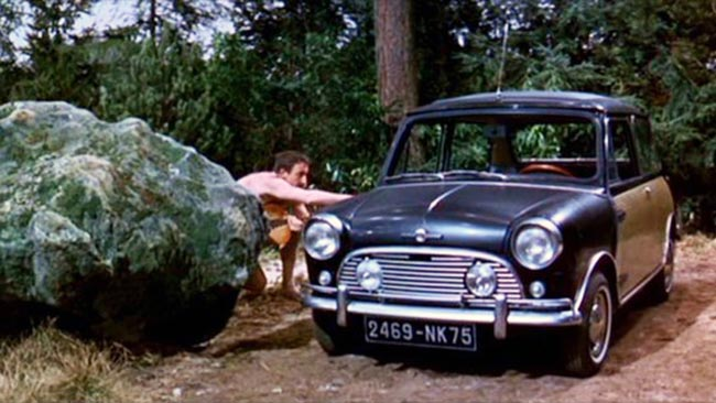 In fact, the Mini made its debut on the big screen in 1964, five years prior to its reputation-making turn in <i>The Italian Job</i>. The car featured in this comedy, which was the second of the Pink Panther series, is best remembered for two reasons. The first is the bizarre wicker side panelling (crafted specially for the film), and the second is a scene in which Inspector Clouseau and his female client escape from a nudist colony and proceed to drive naked through the crowded streets of Paris (it makes a kind of sense within the movie). Sadly, this car meets its demise in the movie's climax, as a bomb intended for Clouseau takes it out.