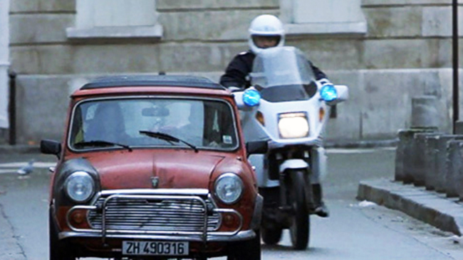 Does this chase scene outdo the one in <i>The Italian Job</i>? Is that silver-screen blasphemy? Okay, but it's at least a close second. This time, amnesiac superspy Jason Bourne (Matt Damon) leaps into a Mini Cooper and outruns the Parisian police motorcycle force by, among other incredible stunts, zipping down a long staircase and racing headlong into oncoming traffic, all while his unfortunate passenger does her best not to vomit and/or faint. Supposedly, if you're familiar with the layout of Paris's streets, the chase will make no sense because it was shot in segments that skipped around the town, but who cares? The real pleasure is watching a full-speed chase through tight spots and sharp turns which only a Mini could handle.