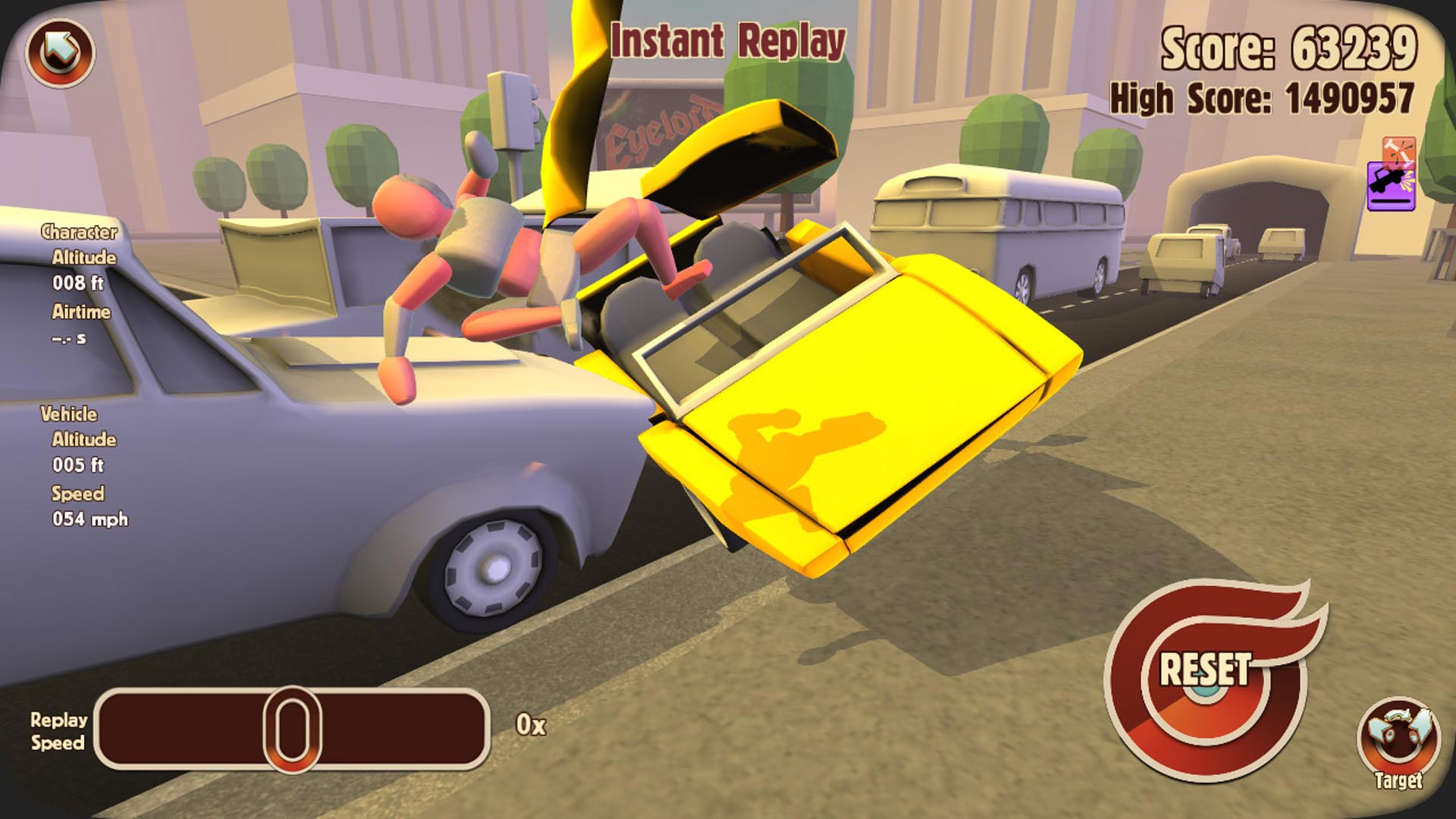 "It's a crash simulator. Mr. Dismount is a crash-test dummy and is subject to variation on the theme ""what happens when an unstoppable force meets an immovable object with a crash-test dummy in the mix?"" It's also free-to-play, it's low-risk – to you, that is. 