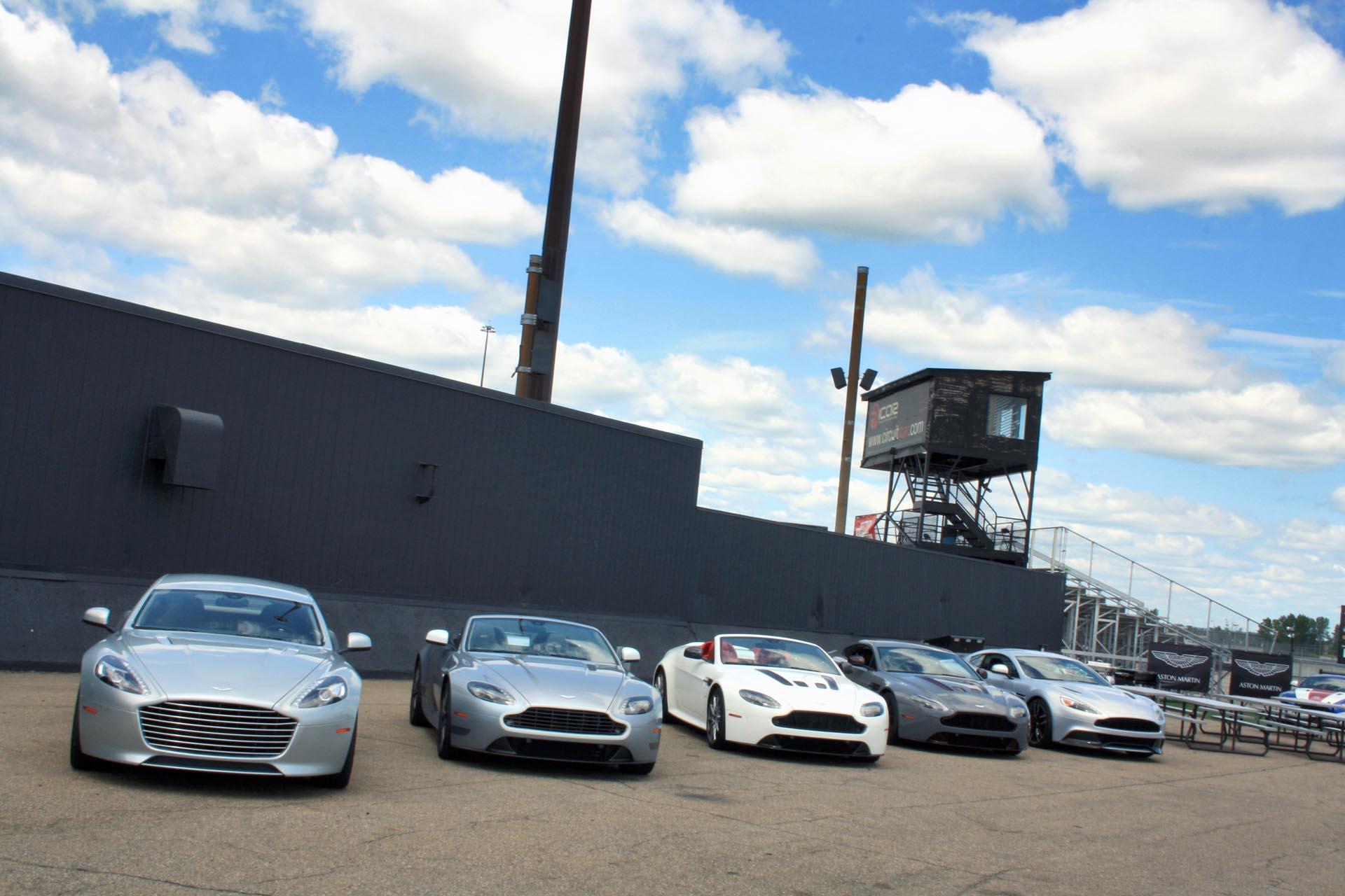 Left to right: Rapide S, Vantage GT Roadster, V12 Vantage S Roadster, V12 Vantage S, Vanquish