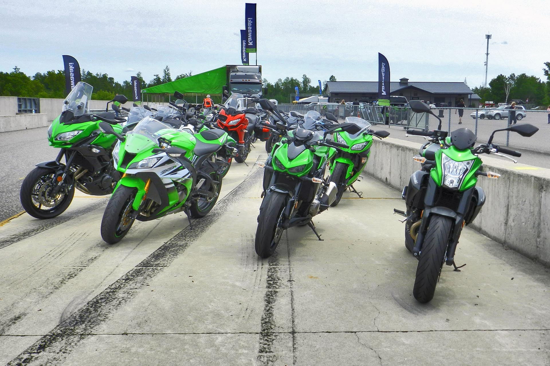 Left to right: Versys 650, ZX-10R, Z1000, ER-6n