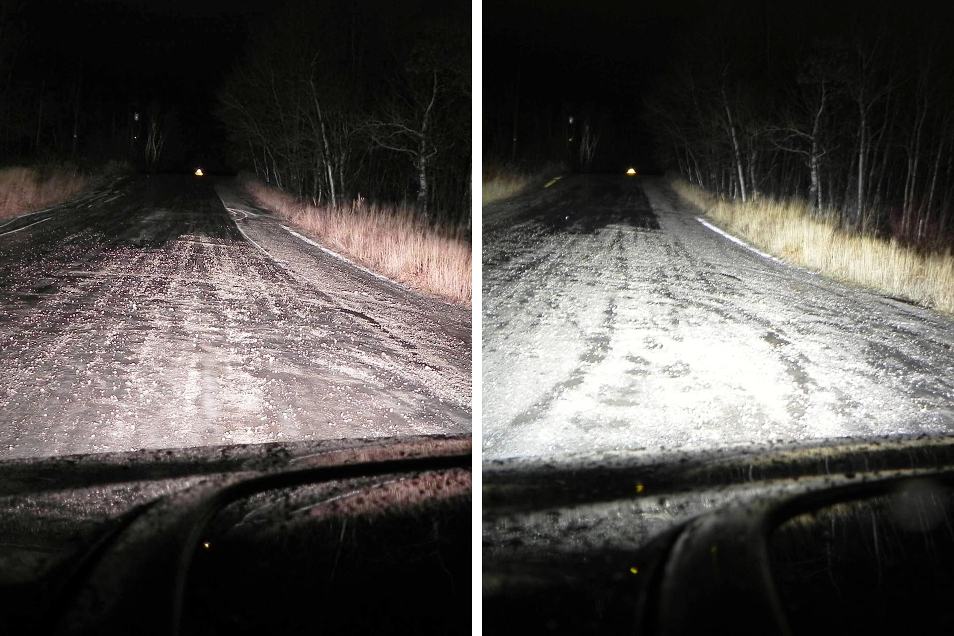 Here, you can see the difference in lighting output and saturation after installing a drop-in xenon lighting kit. Note the whiter, farther-reaching light and reduced dark spots on the road ahead.