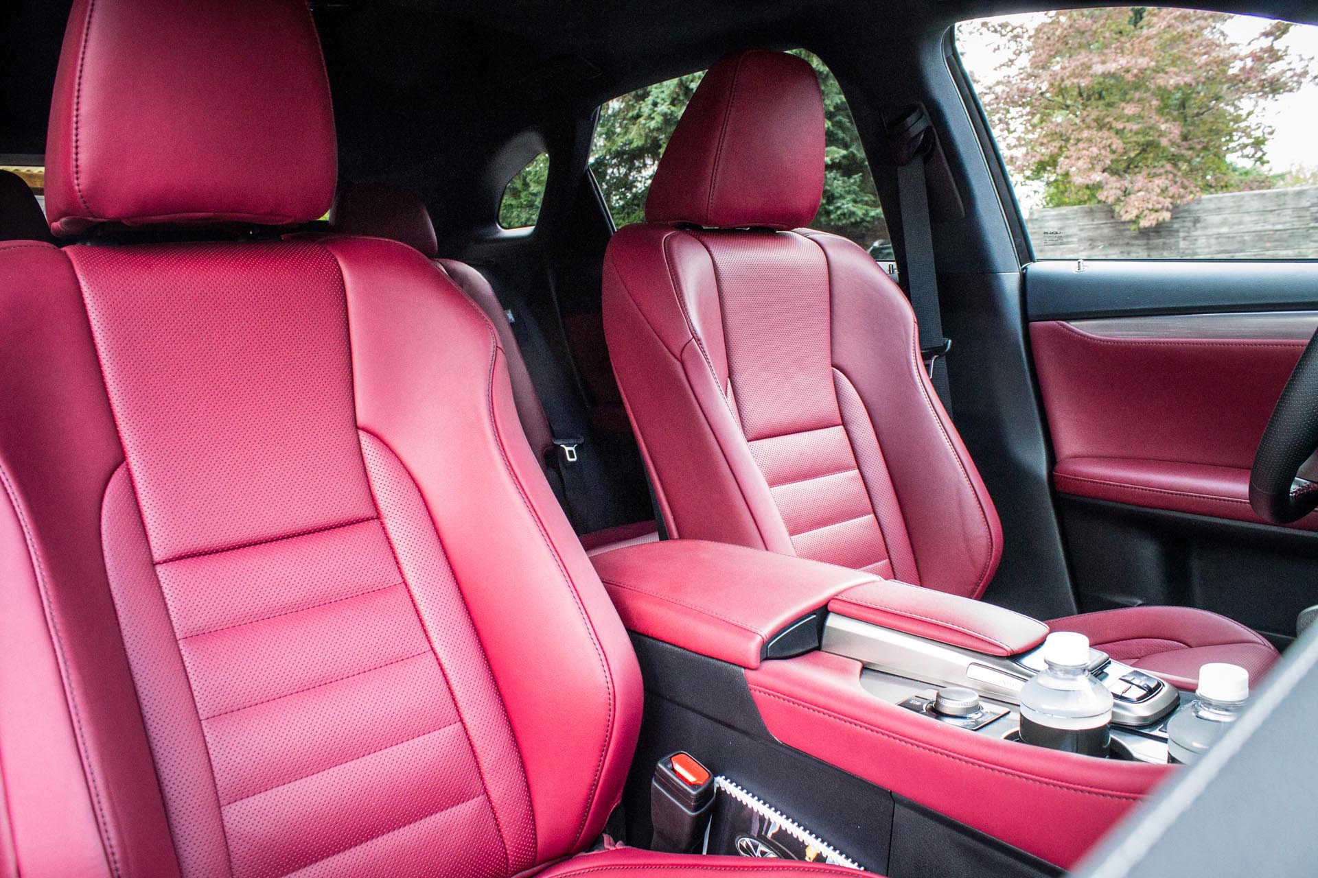 Inside, the new RX is still extremely comfortable, but it's got a great deal more style than any of its ancestors. The F-Sport seats in particular are excellent, deeply bolstered and still very comfortable. In red, they're both stylish and functional.