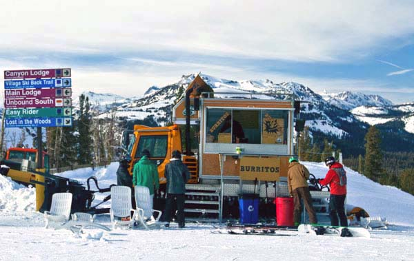 Farther south in California, but at much higher elevation, we found one crew that would go to any extremes to bring hungry skiers a burrito on the half-pipe. To serve the skiers' appetites for tasty tacos on the slopes of Mammoth Mountain, California, these enterprising and adventurous chefs adapted a Sno-Cat to bring the heat and flavours of Mexican right to the top of the mountain.