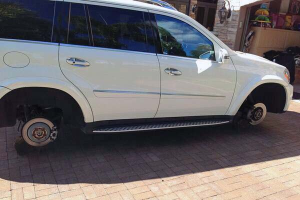Here's a weird one. A couple of years ago Roberto Luongo tweeted out this pic of his luxury SUV, complaining that the wheels had been stolen while it had been parked in his driveway. Were they thieves? Or were they so-called fans seeking one-of-a-kind (well, four-of-a-kind) souvenirs? The tweet kicked off a series of good-natured ribbing between Luongo and his then backup Eddie Lack.