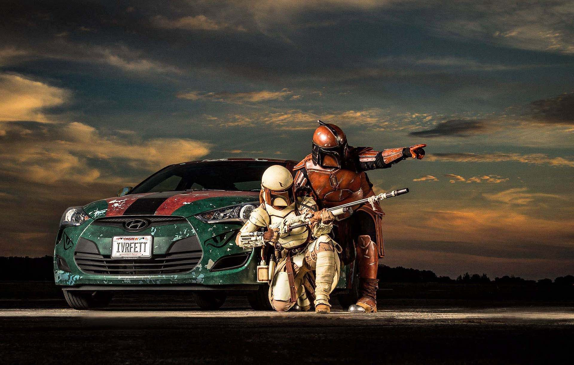 Vinyl wraps have opened new doors for art cars, and one of the best-executed examples in the Star Wars universe - aside from the VW Bus we've already discussed - is Rebekah Stieg Knuth's Hyundai Veloster. Featuring an elaborate design esthetic modeled after the famed Mandalorian armor worn by feared bounty hunter Boba Fett, 'Ivor Fett' even has its own Facebook page. Because it's 2015.