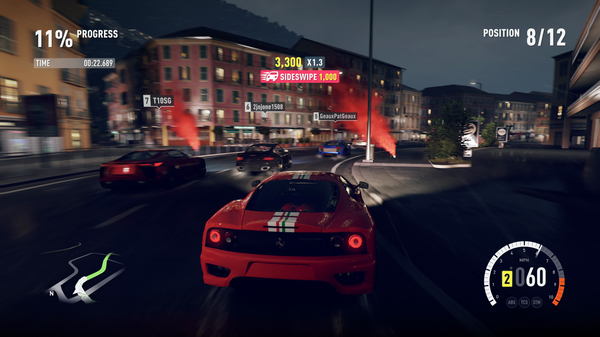 Racing at night in the city