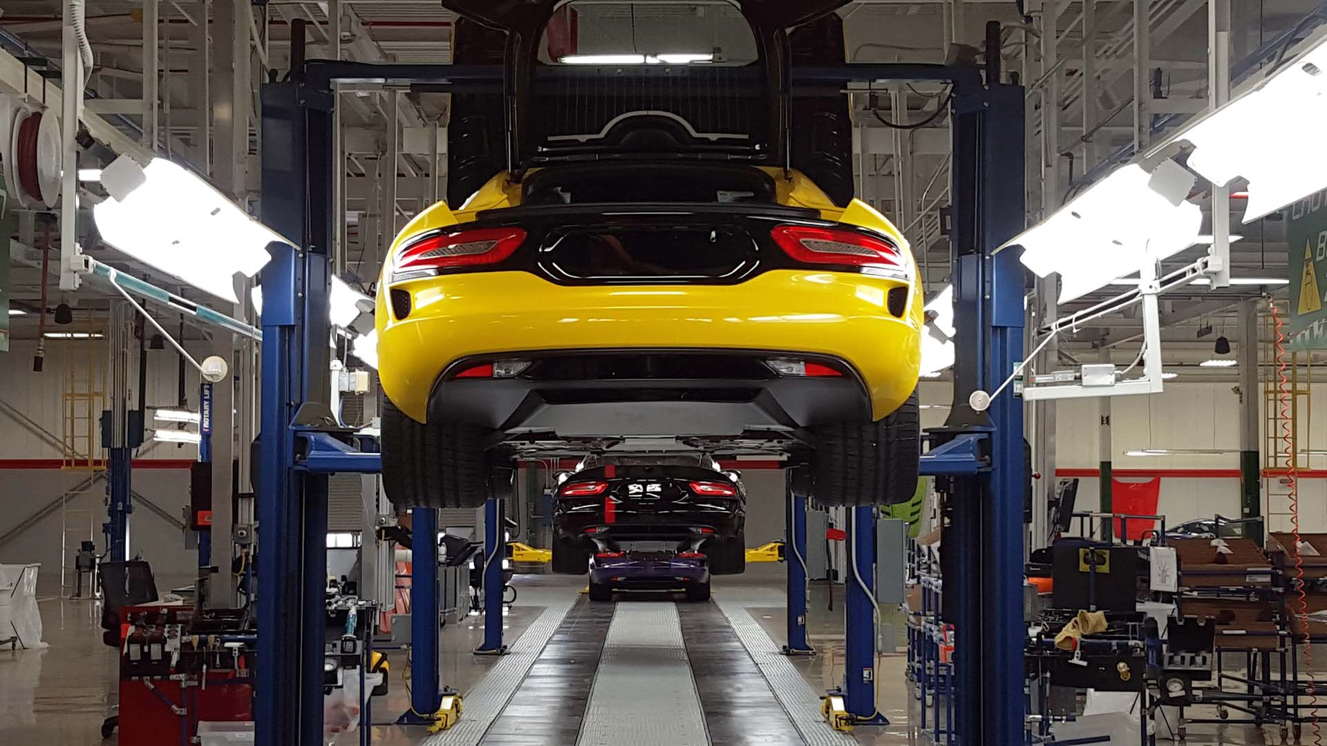 At present, Conner Avenue Assembly is producing just 3 Dodge Vipers per day. In this photo, a full day's worth of production waits for finishing touches on the assembly line. The plant can build up to 12 cars per day, when required. Each car is hand-assembled and uniquely finished to its owner's individual tastes.