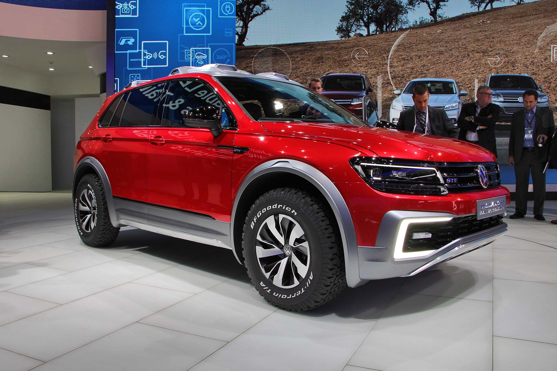Volkswagen's Tiguan GTE Active off-road hybrid concept also makes use of dual electric motors, but they're paired to a 12.4 kWh battery that'll go 32 km in electric-only mode. The gasoline engine automatically kicks in when the battery runs low or when your off-road hijinks call for more power. Who says green cars can't be dirty?