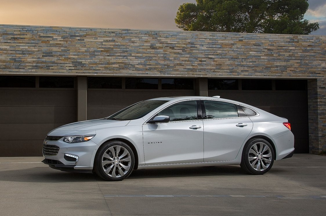 ... and the Malibu family sedan, notable for being both larger and lighter than the car it replaces.
