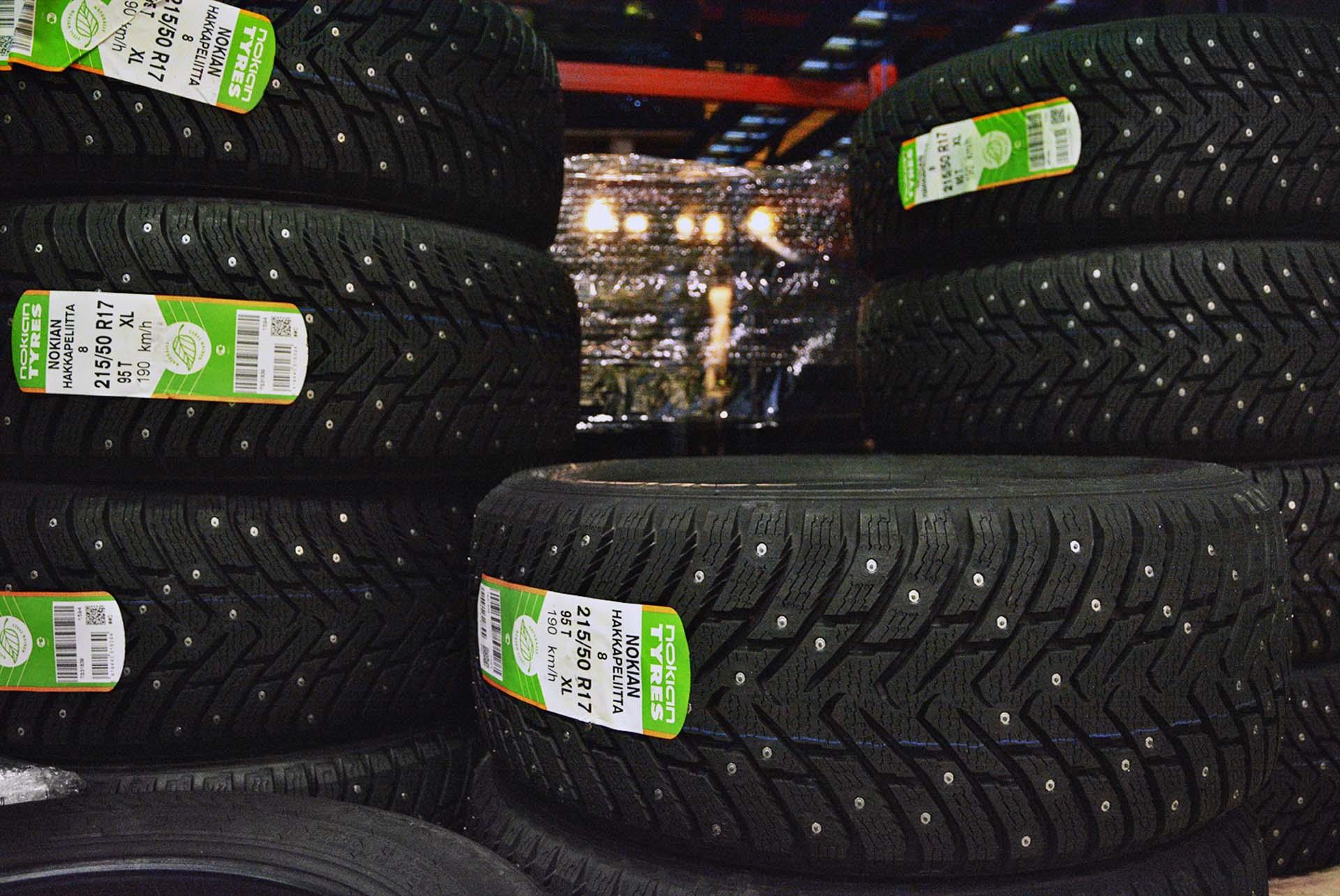 Tires awaiting shipment at the logistics centre