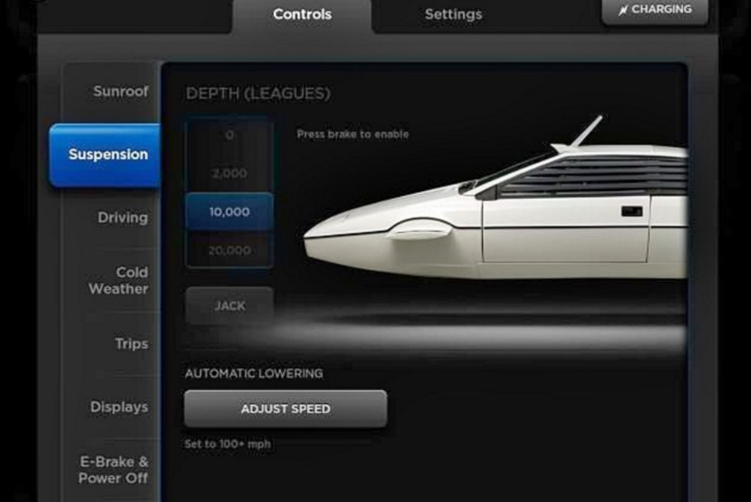 "Inside the huge touchscreen of the Tesla Model S is a nod to Elon Musk's favourite car, the Lotus Submarine from the Bond movies. The image is selected via a hidden menu, and it also allows you to change your suspension settings by measures of depth (leagues) instead of height (inches). You'll also find ""Ludicrous mode"" and dials that go to 11, because pop culture references are hip and young and cool and stuff. You know, like"