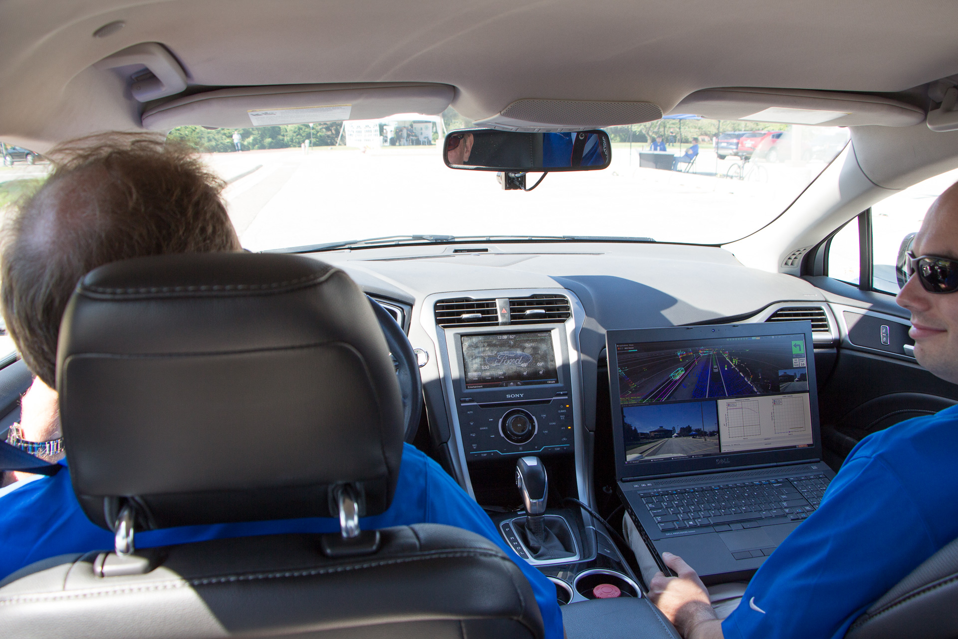 Today, the AV Fusion requires a driver to be ready, and an engineer monitoring the sensors on his laptop.