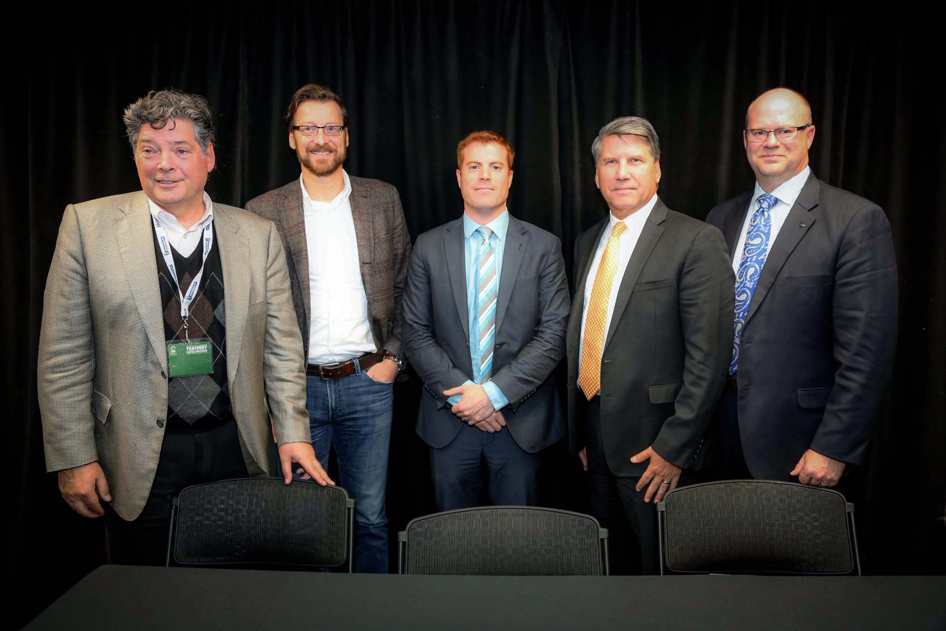 From left: David Paterson, Vice President of Corporate Affairs, General Motors of Canada; Wolfgang Hoffmann, President, Jaguar Land Rover Canada; François Lefèvre, Chief Marketing Manager – Nissan Leaf, Nissan Canada; Don Romano, President and CEO, Hyundai Canada; Ted Lancaster, Vice-President and COO, Kia Canada