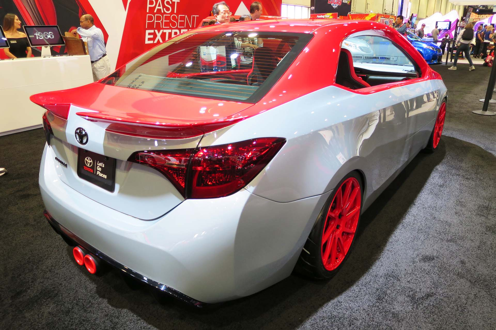 "Built by Toyota and Cartel Customs, the ""XTREME Corolla"" is transformed into a two-door hardtop and includes a Garrett turbocharger, Cartel exhaust, and floating centre console."