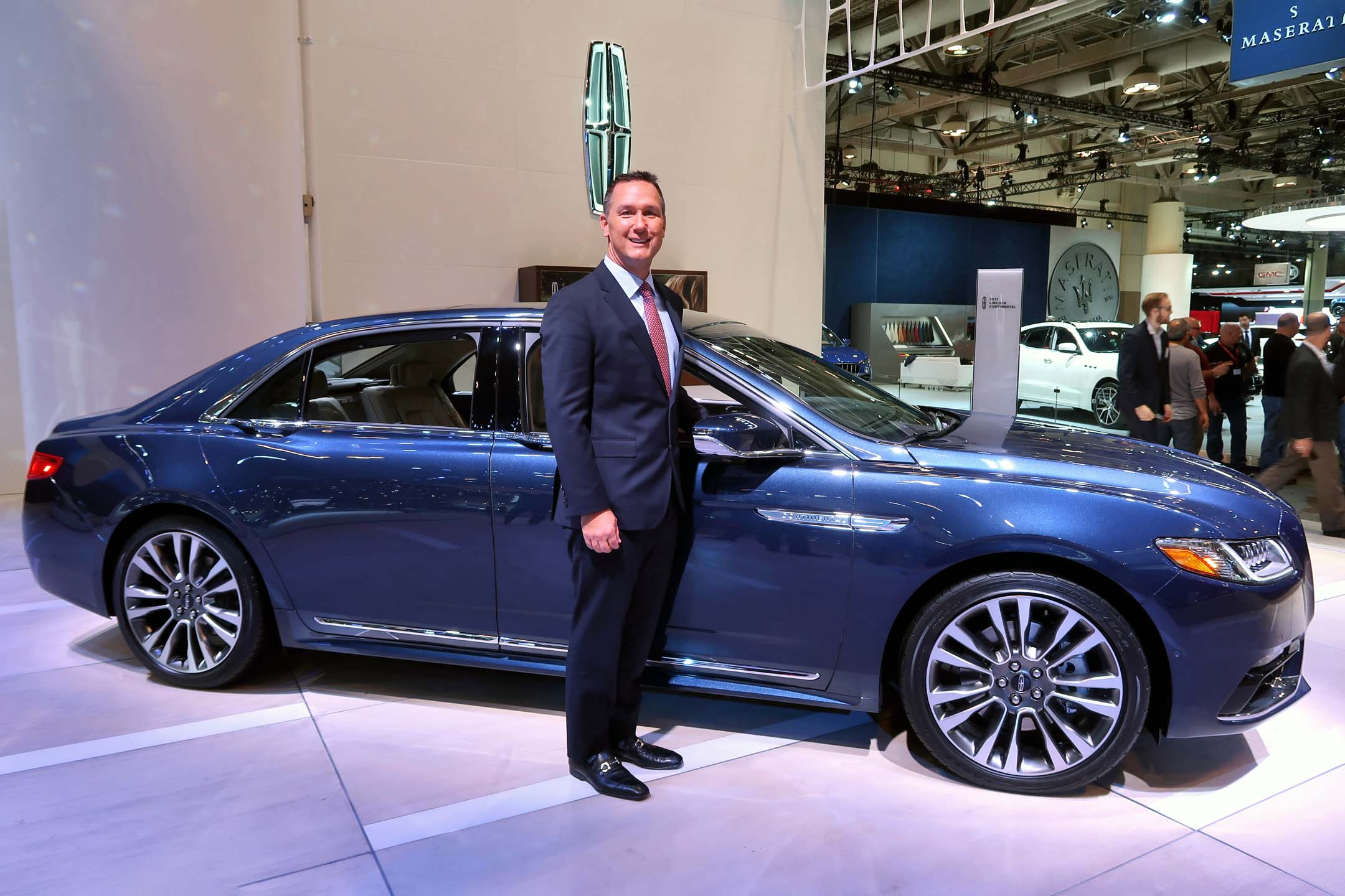 Mark Buzzell, president and CEO of Ford of Canada, with the Lincoln Continental</p> <p>Photo: Jil McIntosh