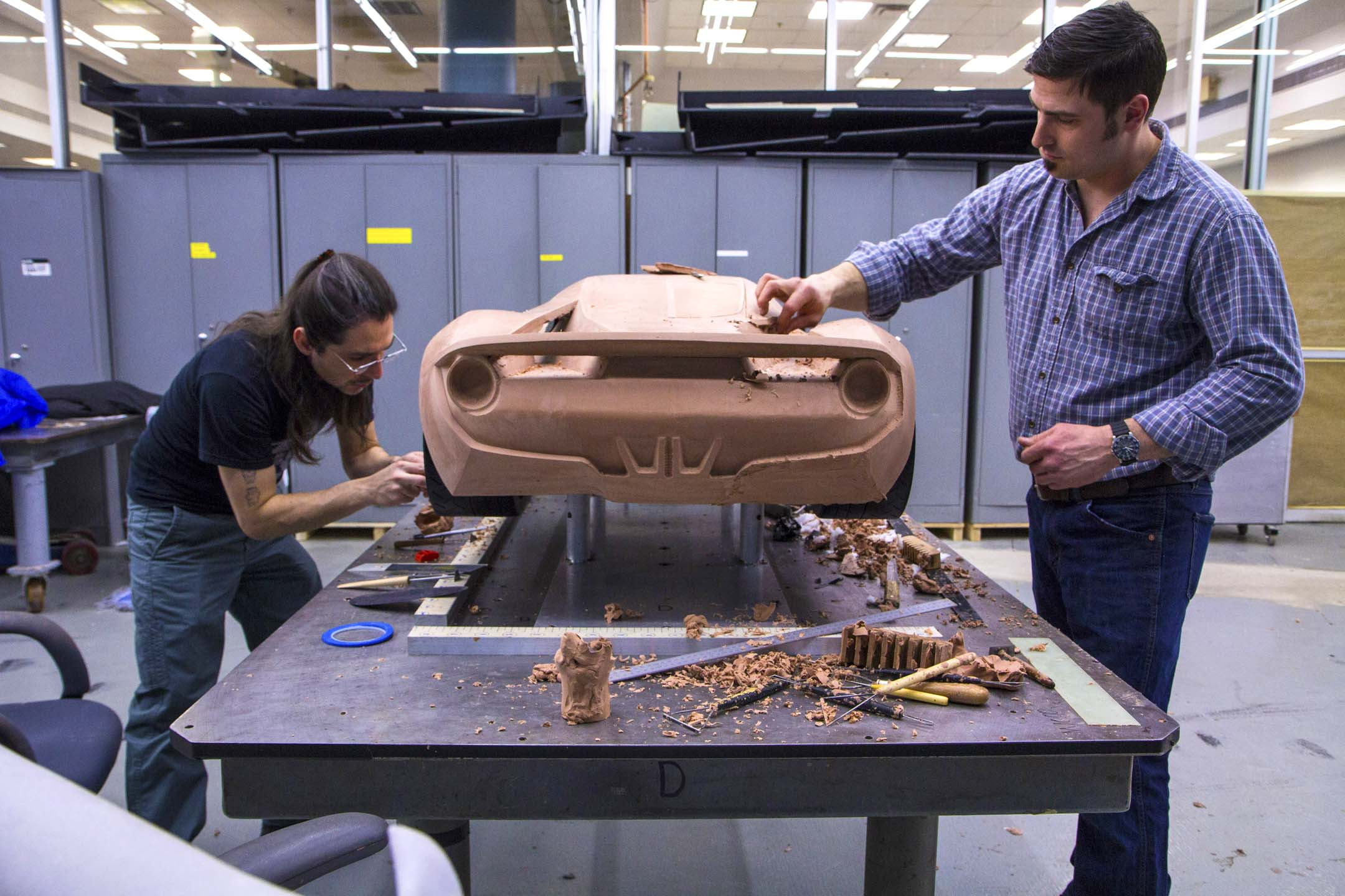 Designers create a small-scale mock-up of the Ford GT