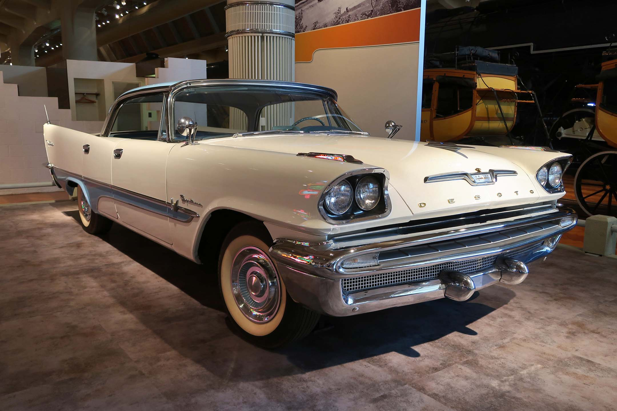 A 1957 DeSoto Fireflite, a Chrysler brand that was made from 1928 to 1960