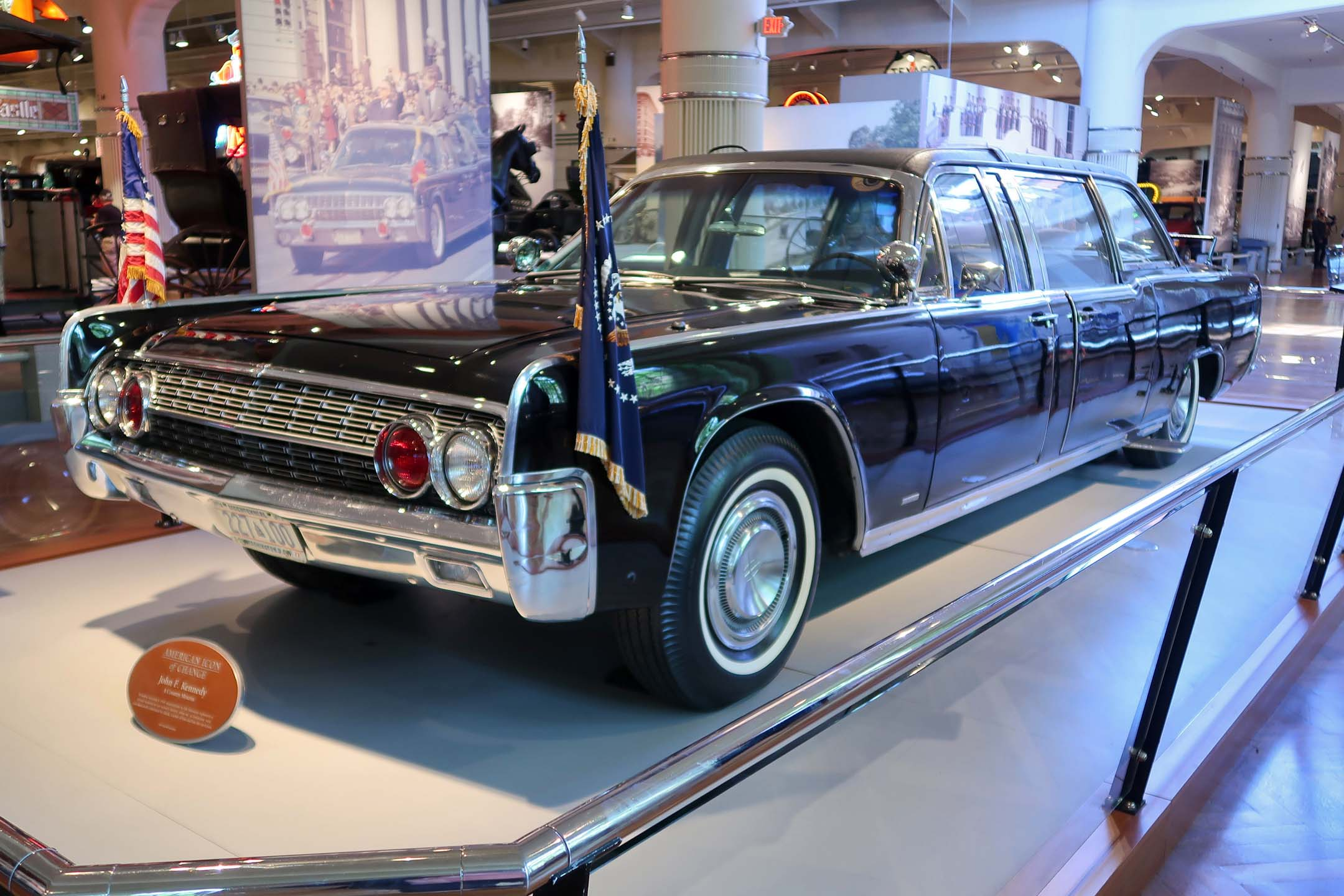 The 1961 Lincoln in which John F. Kennedy was killed was later rebuilt with a roof and put back into presidential service
