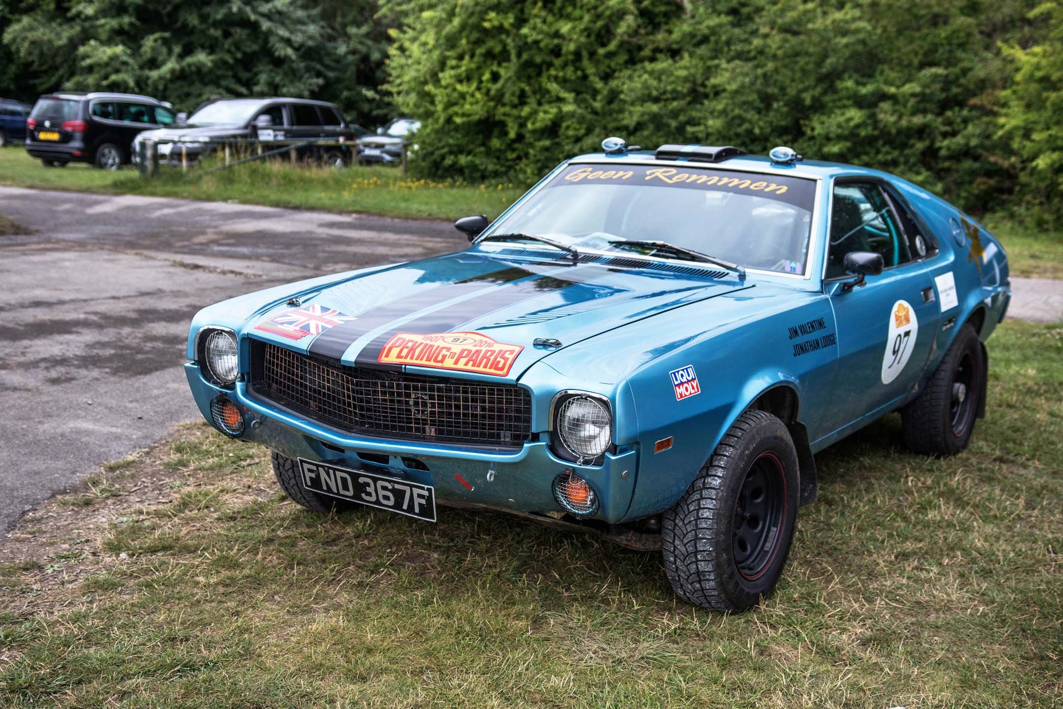 Tucked away in a corner, a lifted AMX shows that anything can be turned into a rally car, provided you've got big enough tires. This one had Peking to Paris badges on it, indicating it had hammered across the Gobi desert at one point.