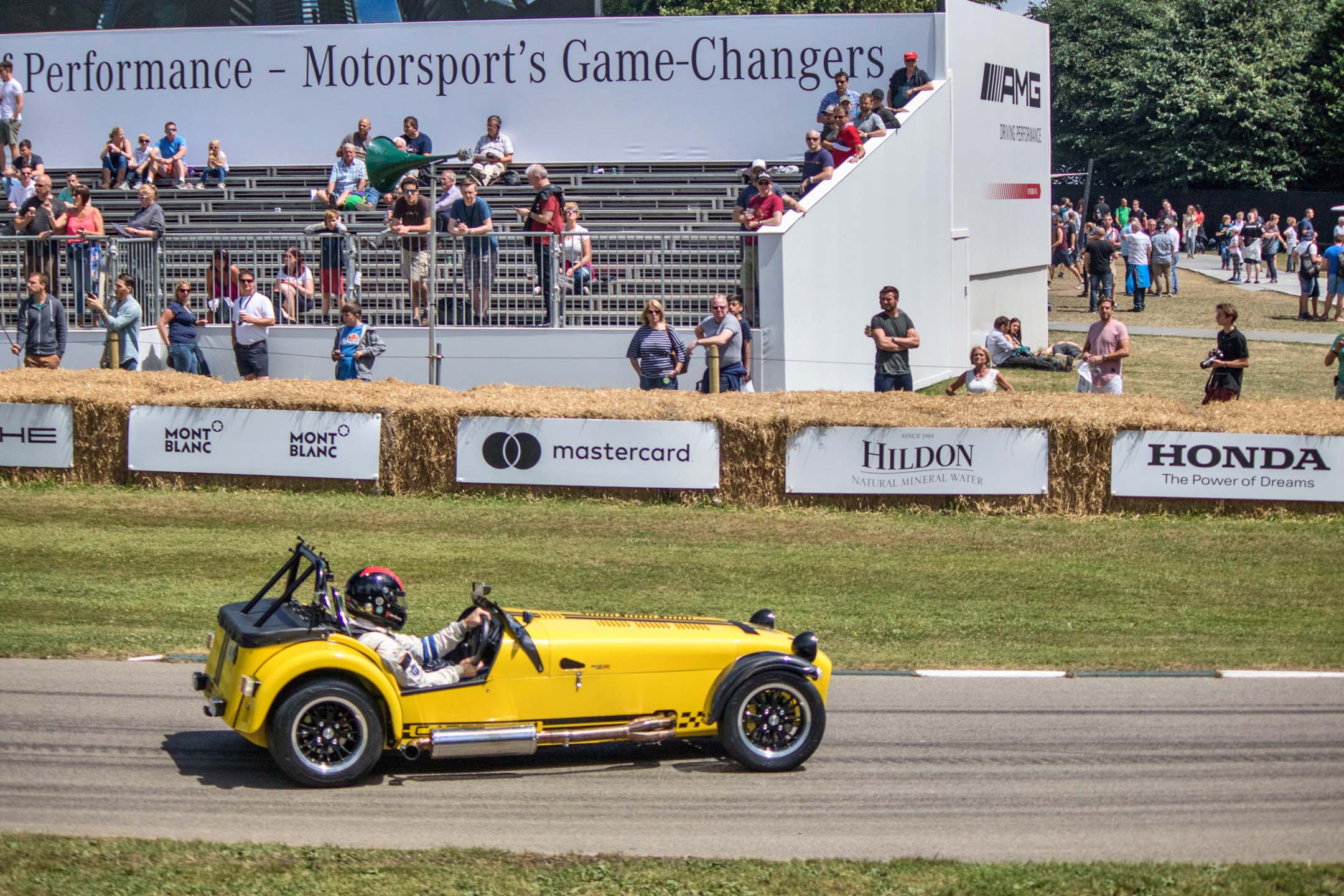 A Caterham 620R gets completely sideways, just on its way back to the staging area. Despite being a half-century old design, the Caterham was the second quickest car up the hill, beating out all the supercars.