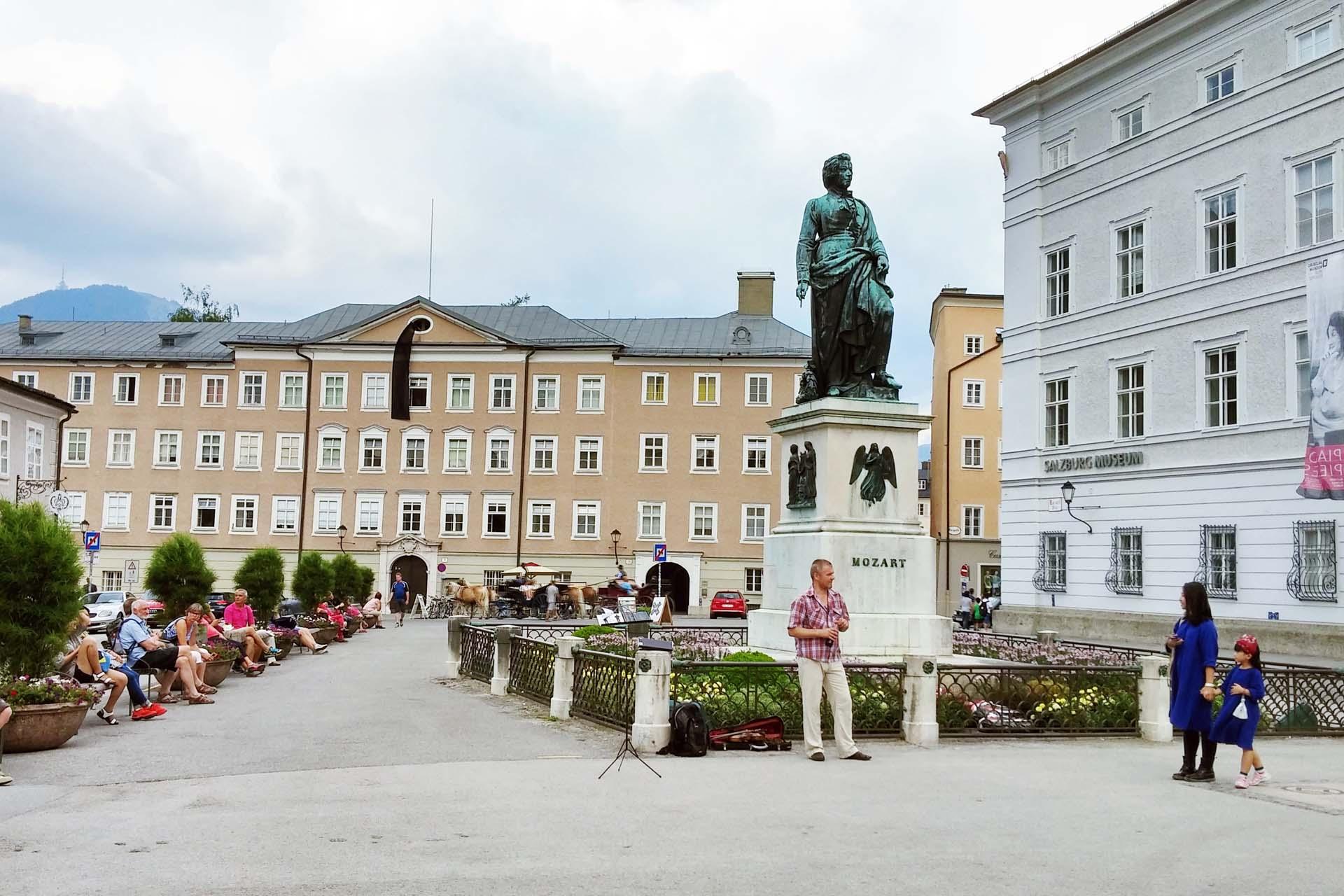 Mozartplatz in downtown Salzburg, Austria