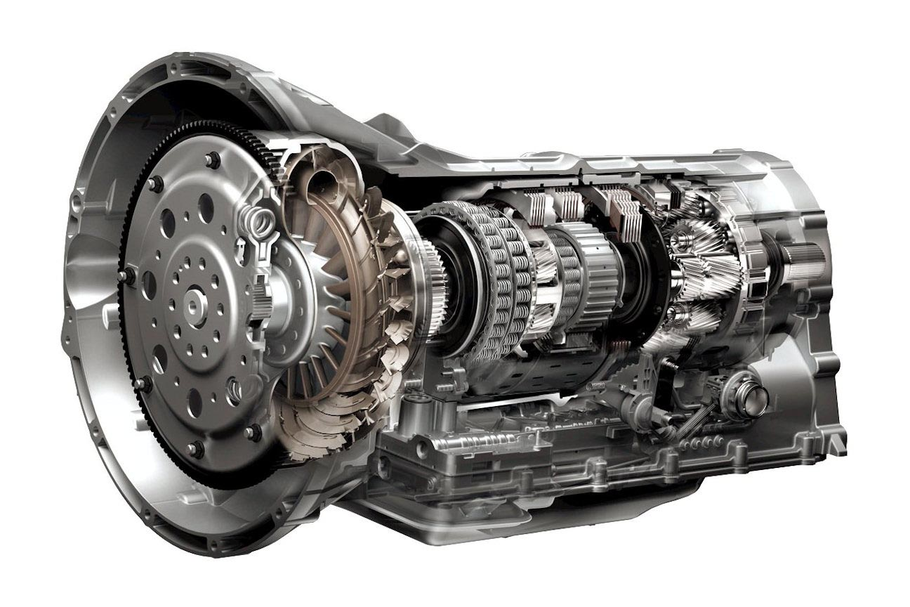 An automatic transmission's gear ratios come from selectively engaging and disengaging the sets of planetary gears that are driving the wheels at any time. In any given gear, some of the planetary gears in the transmission are simply idling, and not receiving power, while others are. By engaging and disengaging specific sets of planetary gears inside of the automatic transmission, the path of the engine's power through the transmission is changed, as is the gear ratio currently engaged. In the cutaway above, you can see the torque converter at the very left, and several partially-exposed planetary gear sets to the right.