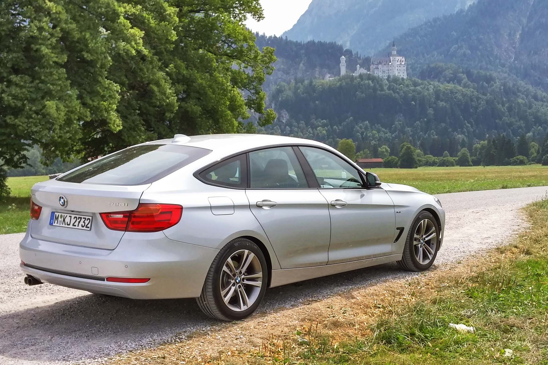 The 328i with Neuschwanstein castle in the background.